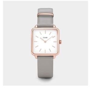 Dámske hodinky s hranatým ciferníkom a sivým koženým remienkom Cluse La Tétragone