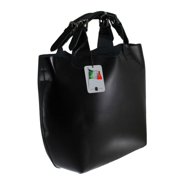 Čierna kožená taška Chicca Borse Sofia