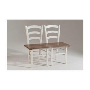 Bielo-hnedá drevená lavica pre dvoch Castagnetti Fir