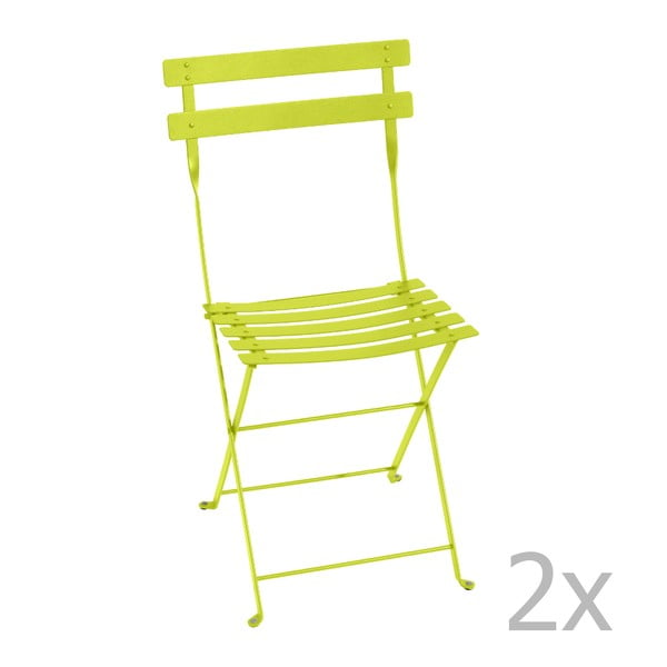 Sada 2 limetkovozelených skladacích stoličiek Fermob Bistro