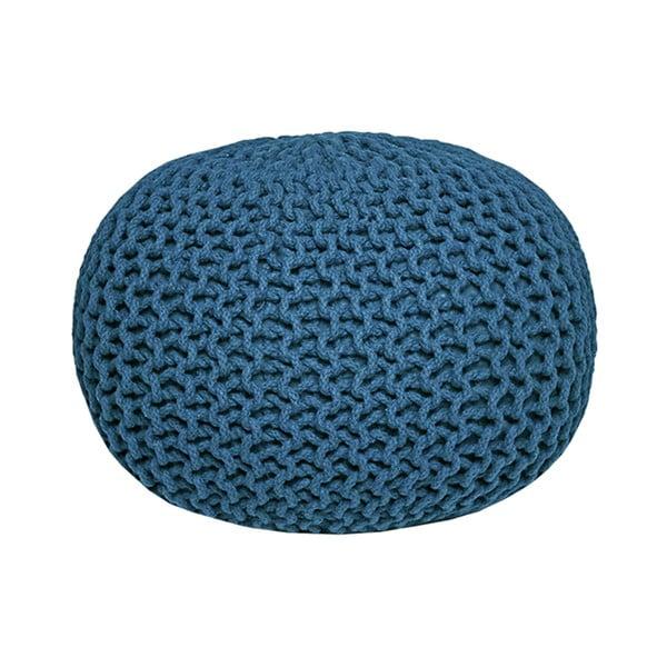Modrý pletený puf LABEL51 Knitted