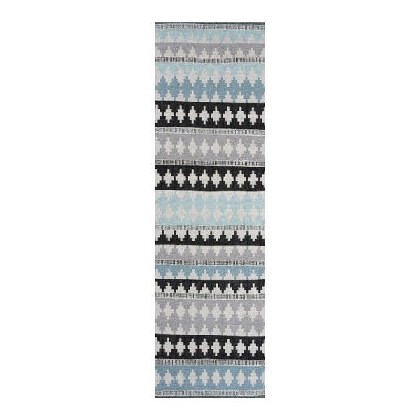 Modrý bavlnený koberec Linie Design Nantes, 80x250cm