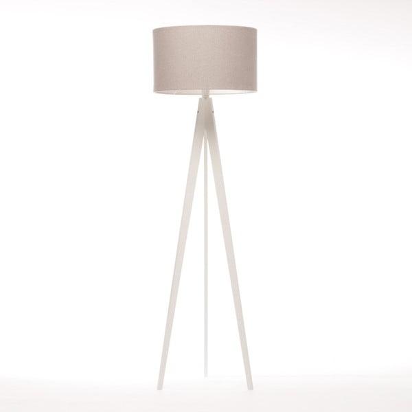 Krémová stojacia lampa 4room Artist, biela lakovaná breza, 150 cm