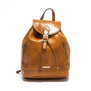 Koňakovohnedý dámský kožený batoh Anna Luchini Carinna