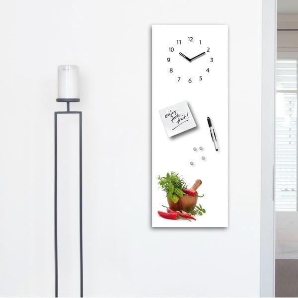 Magnetická tabuľa s hodinami Spices, 30 x 80 cm