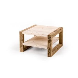 Dvojitý drevený konferenčný stolík so svetlou doskou Antique Wood, 68x68cm