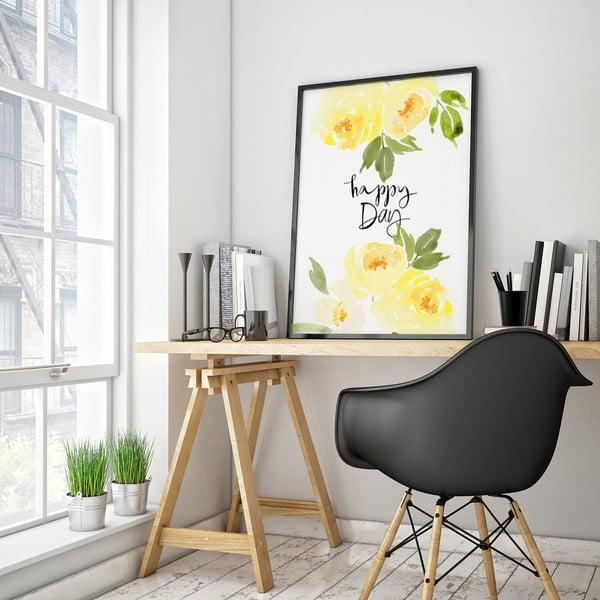 Plagát so žltými kvetmi Happy Day, 30 x 40 cm