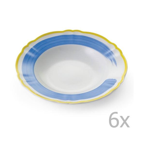 Sada 6 polievkových tanierov Giotto Yellow/Blue