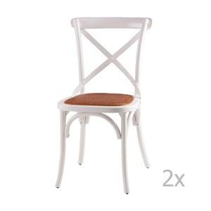 Sada 2 bielych drevených jedálenských stoličiek sømcasa Ariana