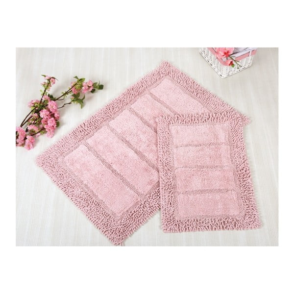 Sada 2 ružových kúpeľňových rohožiek Irya Home Vesta, 60x100 cm a 40x60 cm