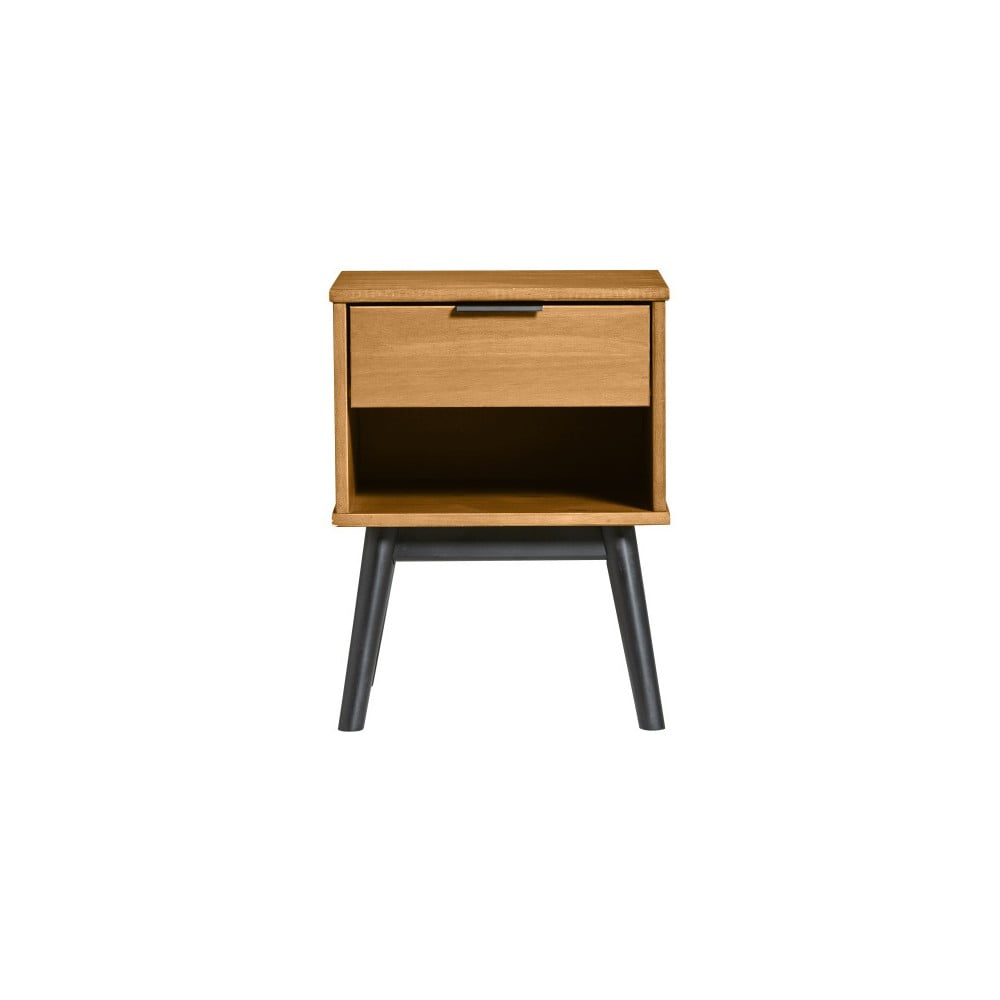 Hnedý nočný stolík z borovicového dreva Marckeric Estela