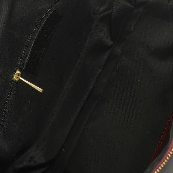 Vínová kožená kabelka Lisa Minardi Coccodrillo Mini