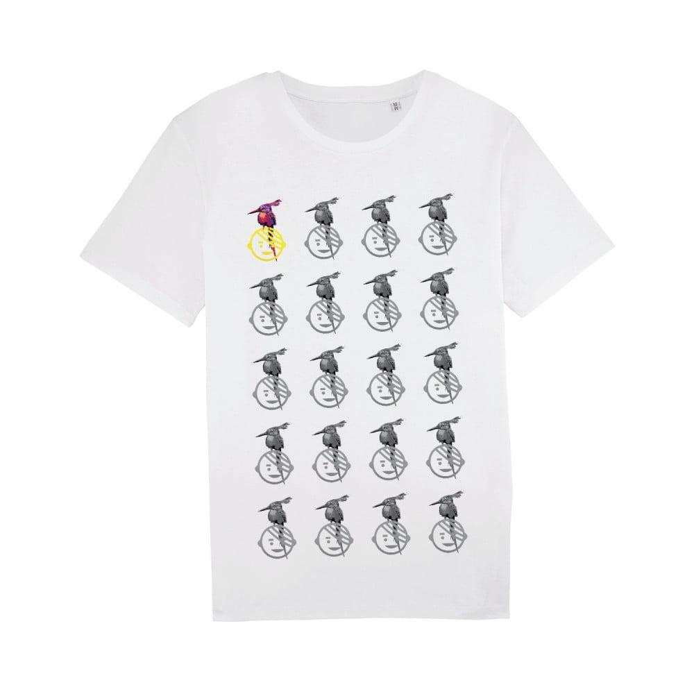 Pánske biele tričko z bio bavlny s motívom Dobrá energia od Dana Bártu & Vladimira 518 pre KlokArt, veľ. M