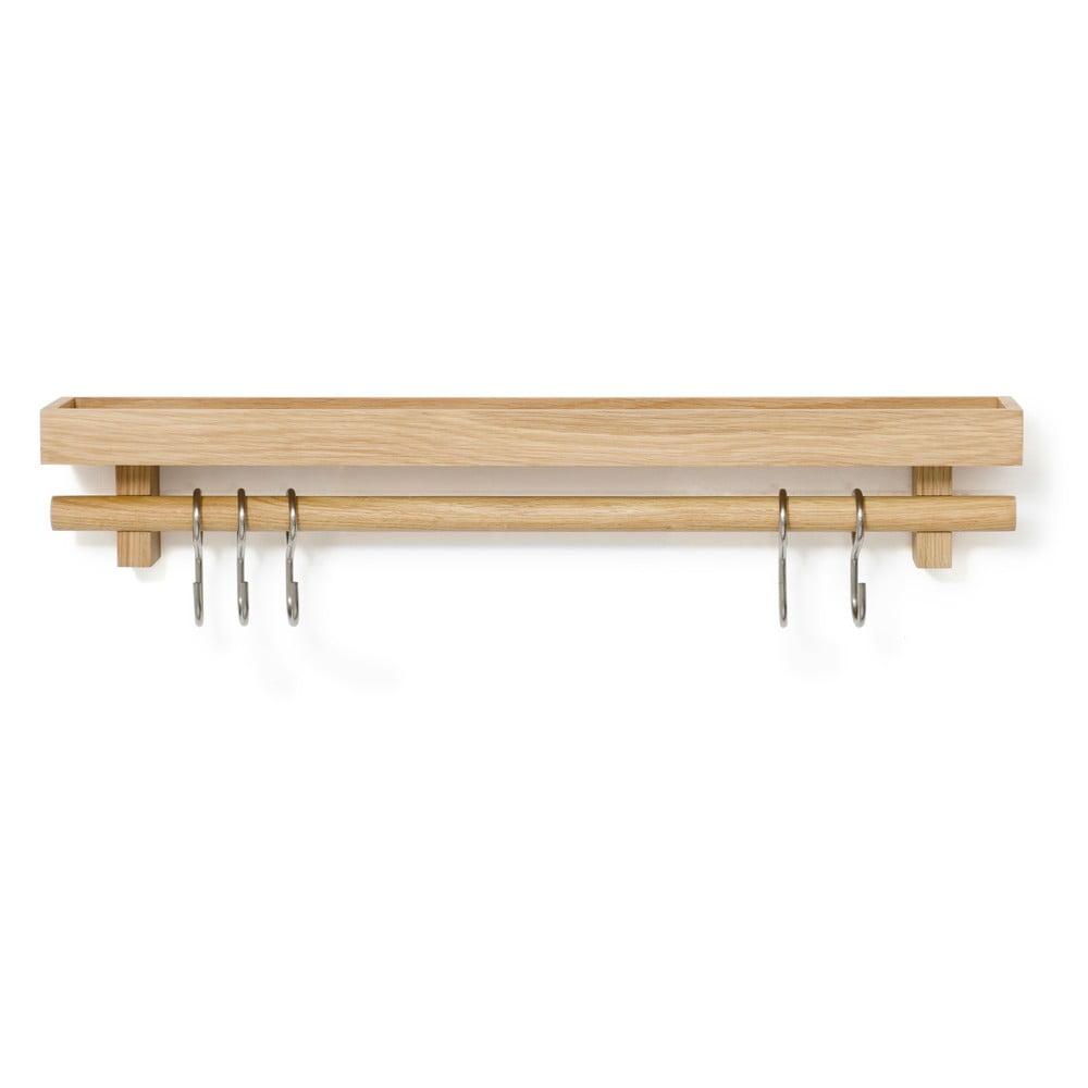Polička s vešiakom na kuchynské nástroje z dubového dreva Wireworks