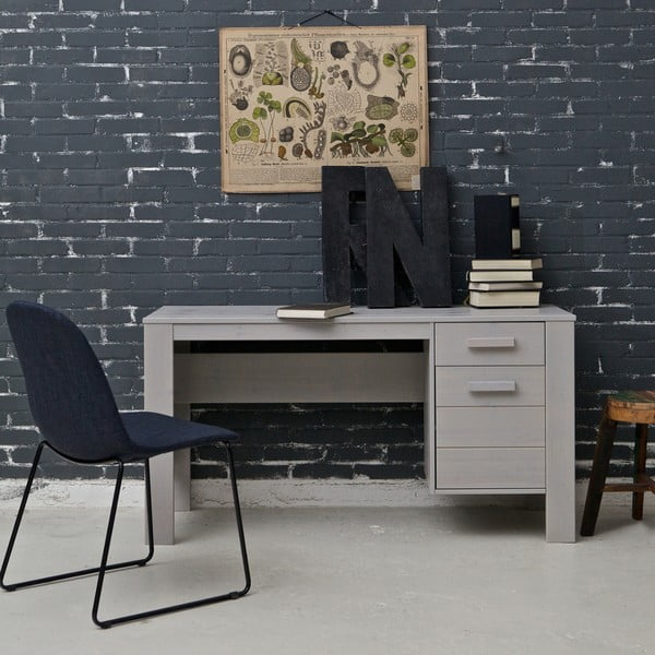 Sivý pracovný stôl z borovicového dreva DeEekhoorn Dennis