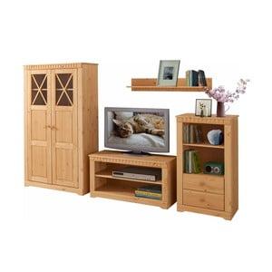 4dielny set do obývačky z borovicového dreva Støraa Claire