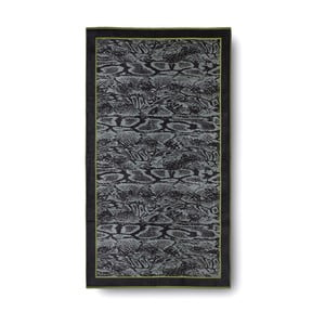 Zeleno-čierna bavlnená osuška Casa Di Bassi Serpent, 100x180 cm