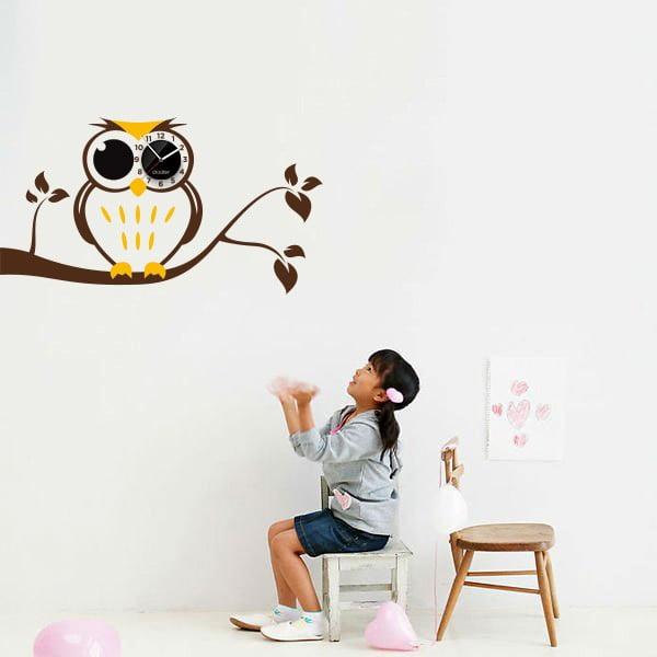 Hodiny so samolepkou Owl