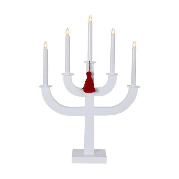 Biely LED svietnik s červeným strapcom