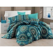 Tyrkysové obliečky s plachtou na dvojlôžko Hula Turquoise, 200×220cm