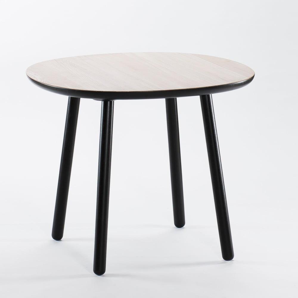 Čierno-biely jedálenský stôl z masívu EMKO Naïve, 90 cm