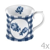 Sada 4 hrnčekov Creative Tops Indigo Gingham, 400 ml