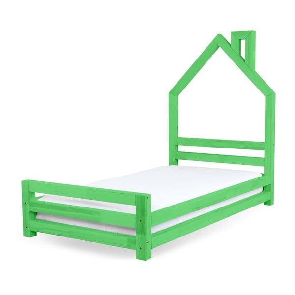 Detská zelená posteľ zborovicového dreva Benlemi Wally, 90×160cm