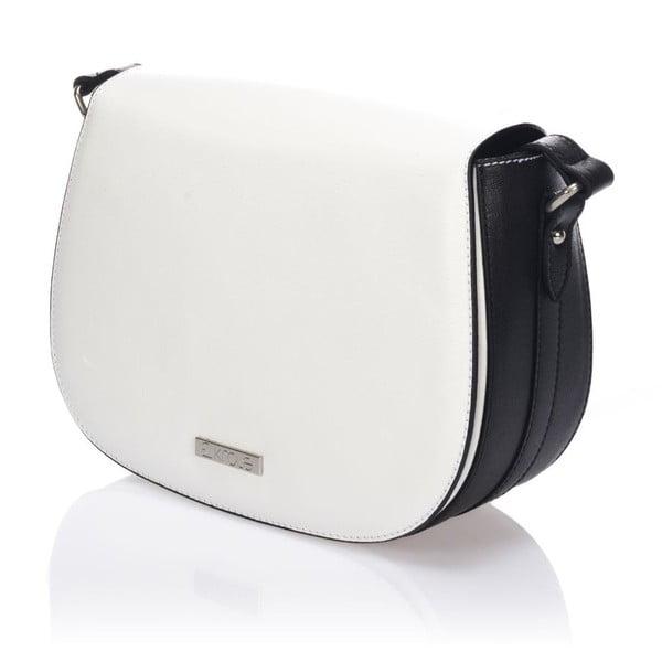Kožená kabelka Krole Karina, biela/čierna