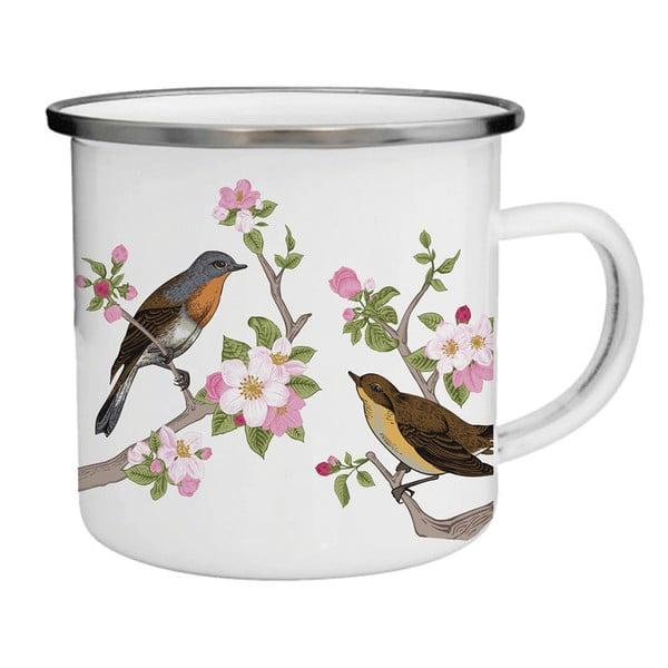 Smaltovaný hrnček s vtáčikmi a kvetinami TinMan, 200 ml