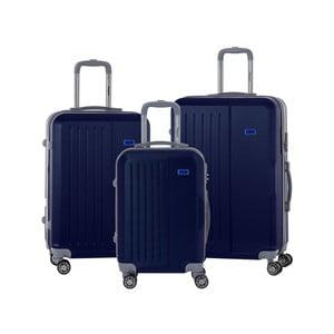 Sada 3 tmavomodrých cestovných kufrov na kolieskách s kódovým zámkom SINEQUANONE