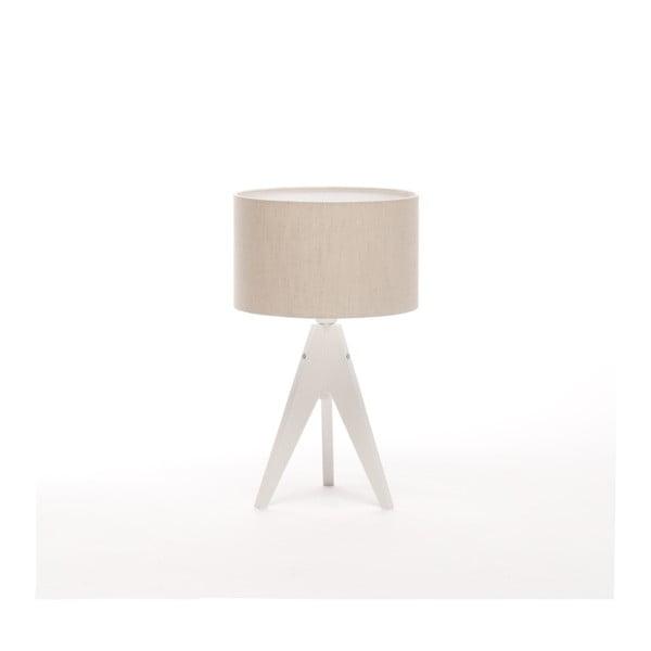 Krémová stolová lampa Artist, biela lakovaná breza, Ø 25 cm