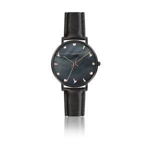 Dámske hodinky s matným čiernym remienkom z pravej kože Emily Westwood Noir