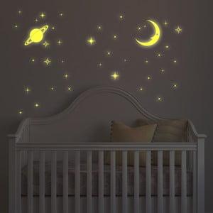 V tme svietiaca samolepka Mesiac a hviezdy