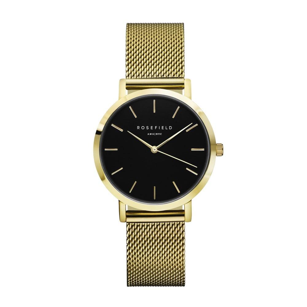 68c896e426 Zlaté dámske hodinky s čiernym ciferníkom Rosefield The Tribeca