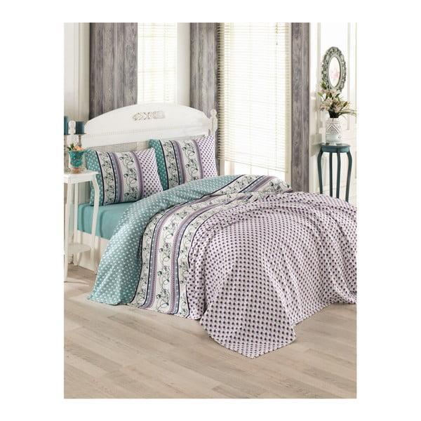 Sivý bavlnený pléd cez posteľ na dvojlôžko Pique Puro, 200 × 230 cm