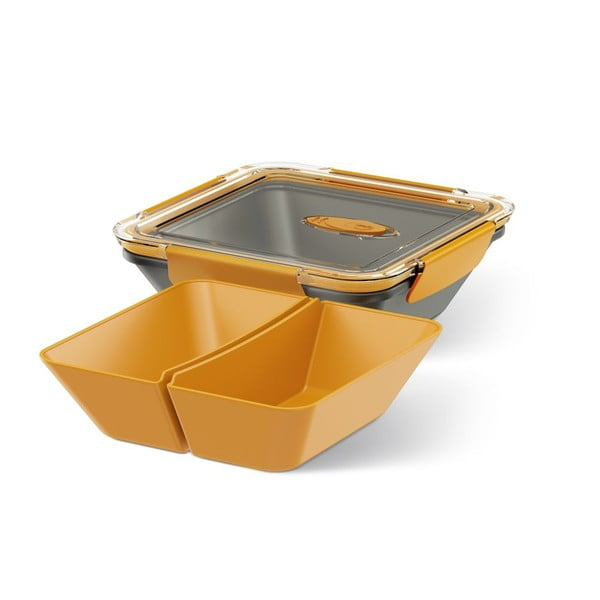 Krabička na potraviny Rectangular Black/Orange, 0,9 l