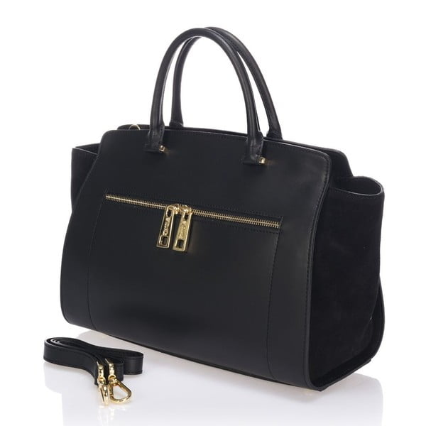 Kožená kabelka Krole Kristina, čierna