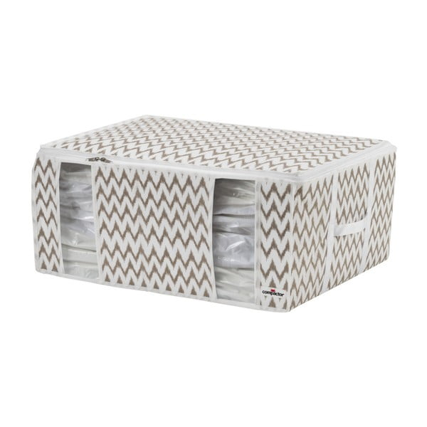 Bielo-béžový úložný box Compactor Compactino ZigZag, 65 x 50 x 27 cm