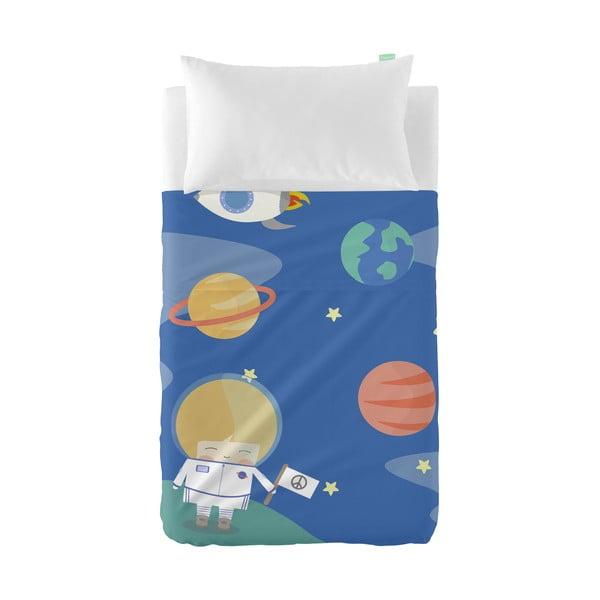 Set plachty a obliečky na vankúš z čistej bavlny Happynois Astronaut, 100×130 cm