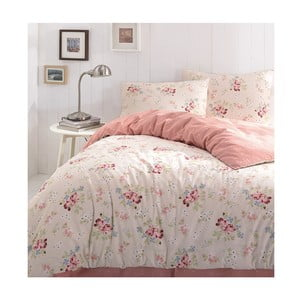 Ružové obliečky na jednolôžko z ranforce bavlny Little Roses, 160 × 240 cm