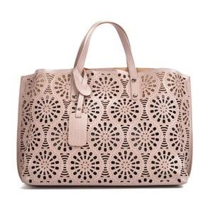 Ružovo-béžová kožená kabelka Mangotti Bags Lulia