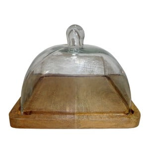 Drevený podnos na syr so skleneným poklopom Antic Line Fromage