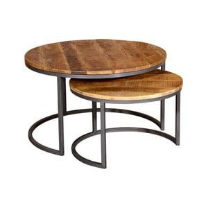 Sada 2 konferenčných stolíkov z kovu a mangového dreva VIDA Living