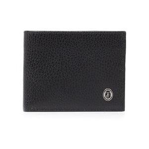Čierna pánska kožená peňaženka Trussardi Moneymaker, 12,5 × 9,5 cm