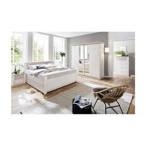 Biela posteľ z borovicového dreva SOB Göteborg Komfort, 140x200cm