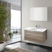 Kúpeľňová skrinka s umývadlom a zrkadlom Flopy, dekor dubu, 80 cm