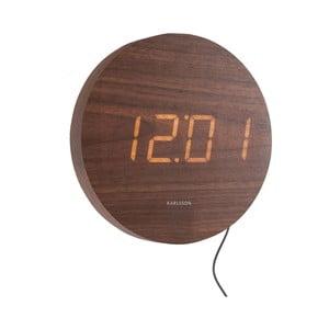 Hnedé nástenné LED hodiny Karlsson Round