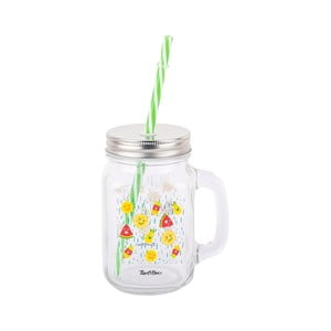 Sklenený pohár so slamkou Tantitoni Happy Fruitso, 475 ml