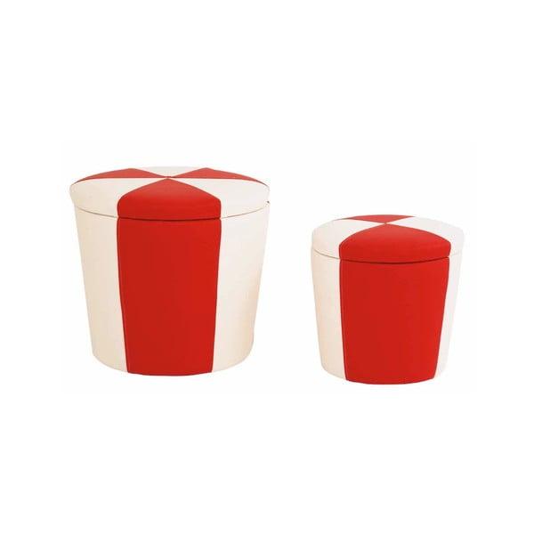 Sada 2 taburetiek s odkladacím priestorom Toffee, červená