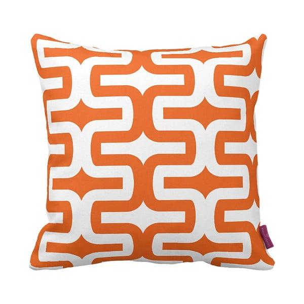 Oranžovo-biely vankúš Retro Orange, 43×43cm